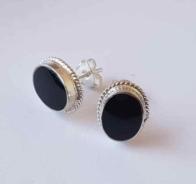 925 Sterling Silver Small Black Onyx Oval Rope Studs Earrings X/'Mas GIFT BOX NEW