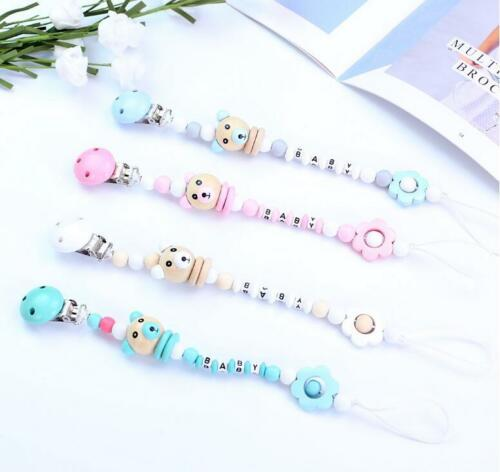 Baby Pacifier Chain Bear Letters Toys Dummy Holder Pacifier Clip Nipple Feeding