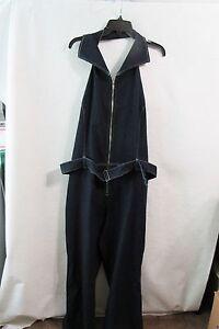 6d0c249bd586 New Women s Revolt Blue Jean Halter Jumpsuit Plus Size 24