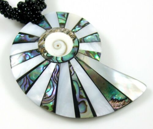 Abalone Coquille de Nacre et Shiva Eye Pendentif Perles Collier Bijoux GA210