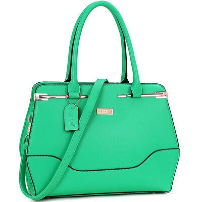 New Dasein Women Leather Satchel Briefcase Tote Bag Shoulder Bag Handbag Purse
