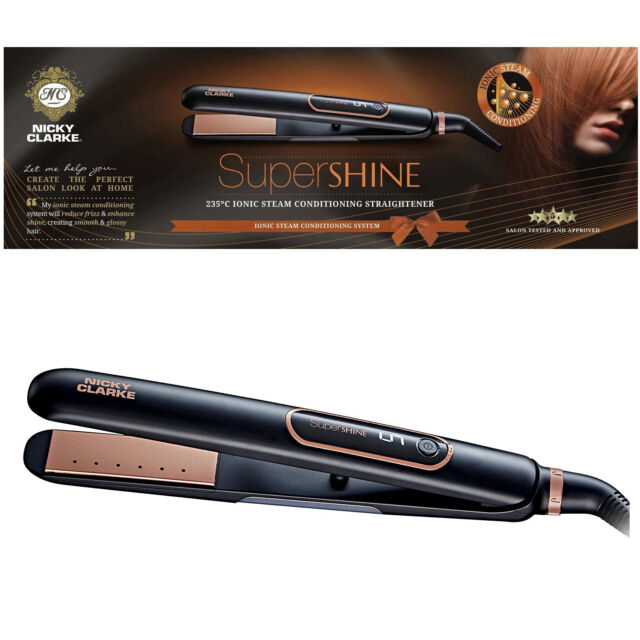 Nicky Clarke Super Shine Hair Straightener Ionic Steam Conditioning Rehydrate