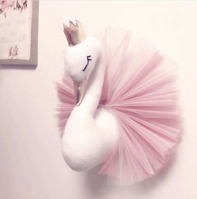 3D Gold Crown Animal Head Swan Wall Hanging Doll Stuffed Toy Wall Art Decor UK