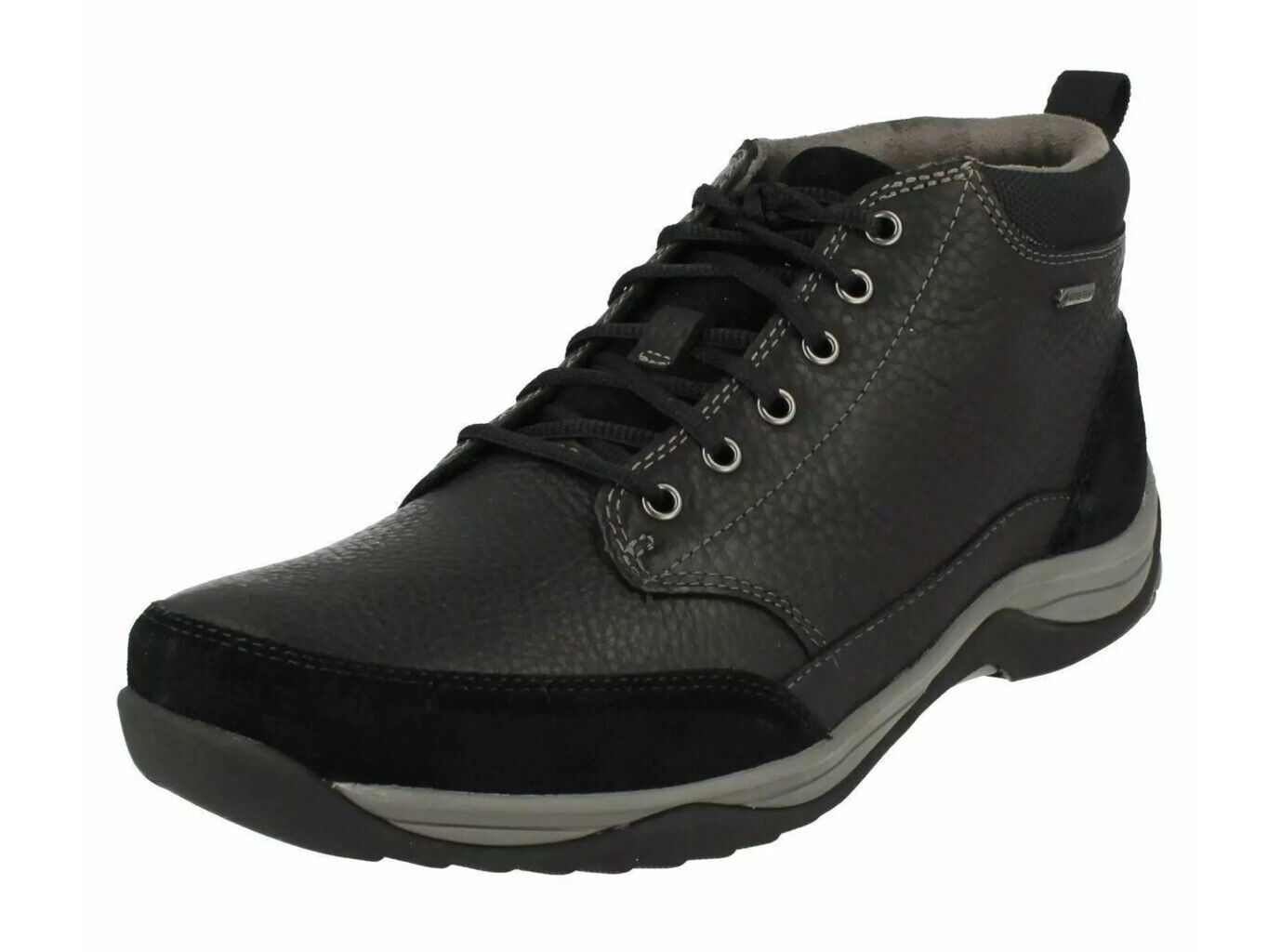CLARKS MEN'S BAYSTONE TOP GTX BLACK LEATHER ANKLE WIDE BOOTS UK SIZE 7 H /41