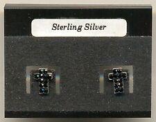 Cross Black Crystal CZ Sterling Silver 925 Studs Earrings Carded