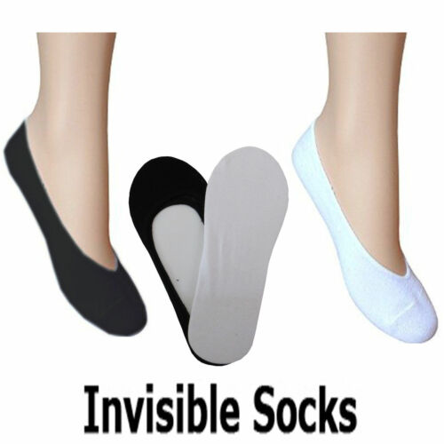 3 Pairs Mens Cotton Rich Invisible Socks Liners Black or White