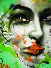 Rostro De Mujer Graffiti Dibujo Arte Callejero Foto impresión arte cartel Imagen bmp2227a