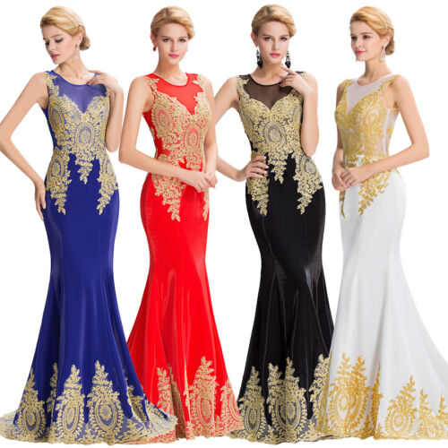 High Grade Applique Long Mermaid Bridesmaid Party Pageant Gown Evening Dresses