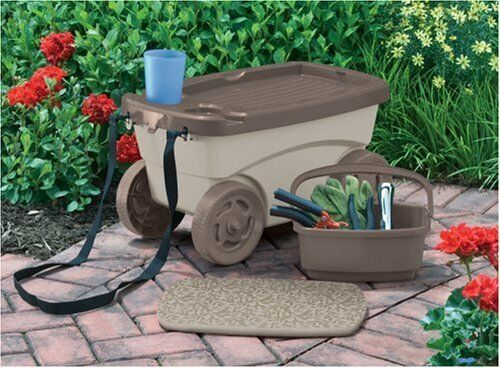 Outdoor braun   Beige Rolling Home Gardening Cart w Foam Cushion -Carries Tools