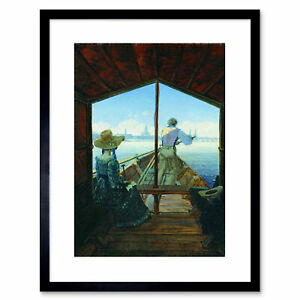 Painting-Interior-Study-Carus-Barge-Trip-Elbe-Dresden-Framed-Art-Print-9x7-Inch