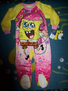 Spongebob-Squarepants-Blanket-Sleeper-Girls-Sleepwear-1pc-4Toddler-Winter