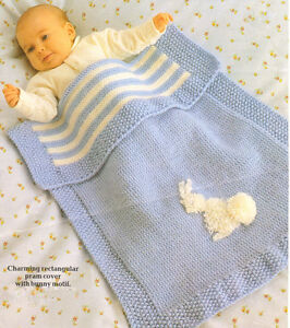 8c08e68bf Vintage Baby Pram Blanket with Bunny Motif Knitting Pattern DK 20