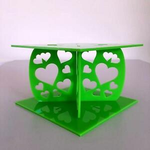 Hearts Design Square Wedding Party Cake Separators Lime Green