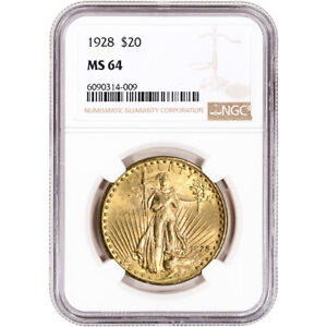 1928 US Gold $20 Saint-Gaudens Double Eagle - NGC MS64