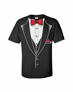 Tuxedo T-shirt Classy Tux with Red Plaid Bow Tie
