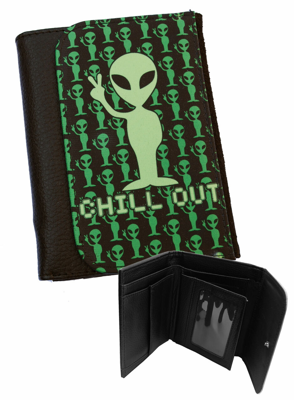 CHILL OUT Mens Black Faux Leather Bi-Fold Wallet / Gifts for Men / Sci-Fi