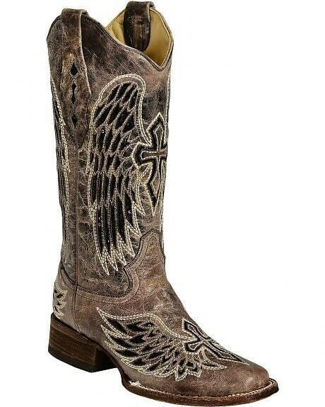 Corral Ladies Square Toe Toe Toe Cowboy Western Boots Brown Black Wing Cross A1197 7ac13d