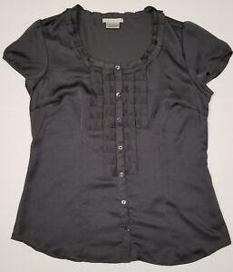 Womens-Button-Down-Shirt-Snake-Skin-Design-Medium-Dark-Gray-Van-Heusen-Studio