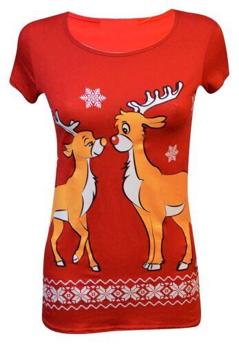 Womens Christmas Printed Short Sleeve T-Shirts Tops 16-26