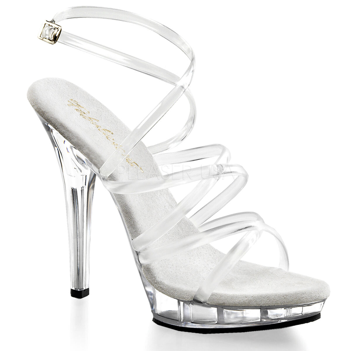PLEASER FABULICIOUS LIP-106 CLEAR STRAPPY COMPETITION STILETTO SANDALS SHOES