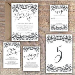 Wedding Invitations Personalised Classic monochrome black white