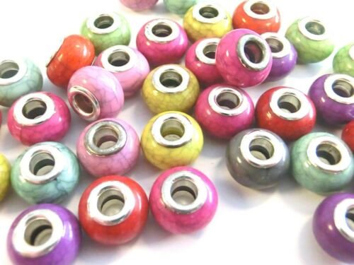 20 Großlochperlen 14x9mm Rondelle Acrylperlen European Perlen Türkis Imitat #9