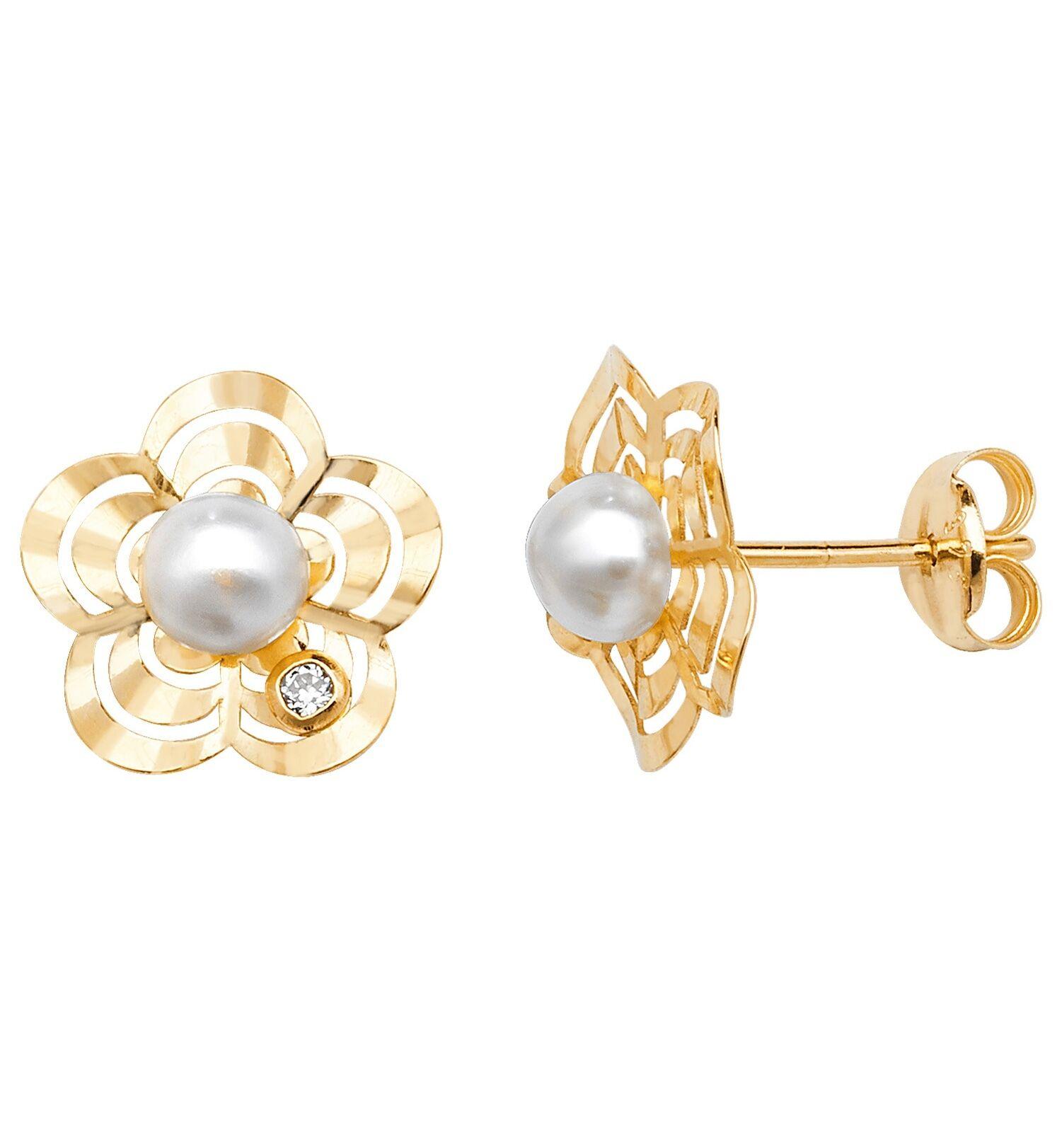 fdca5f16e420 9 Ct Oro Con Perla Pendientes De Presión Con Flor