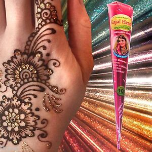 1 X Large Organic Henna Cone Glitter Gel Choice Of Colours