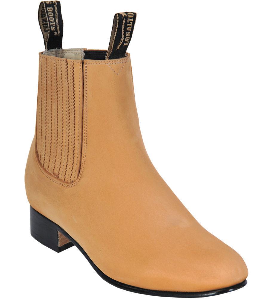 Men's Los Altos HONEY Charro Ankle Nubuck Suede Boots Leather Outsole EE