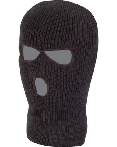 Black Military SAS Style 3 Hole Knitted Winter Balaclava Face Mask