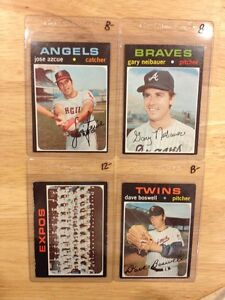 4 CARD LOT 1971 TOPPS HIGH # 657, 668, 674, 675 EX-MINT HI NUMBER SHARP!!!