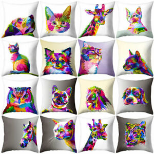Am-Sqaure-Pillow-Case-Cushion-Cover-Colorful-Cat-Lion-Giraffe-Owl-Printed-for-S