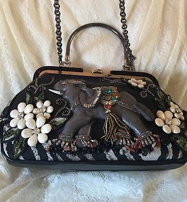 Mary Frances Kerala Elephant Casual Leather Purse Bag Trunk Up