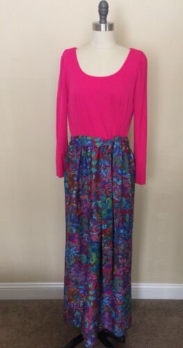 Vintage dress LARGE  19601970 Pink BOHO long Maxi
