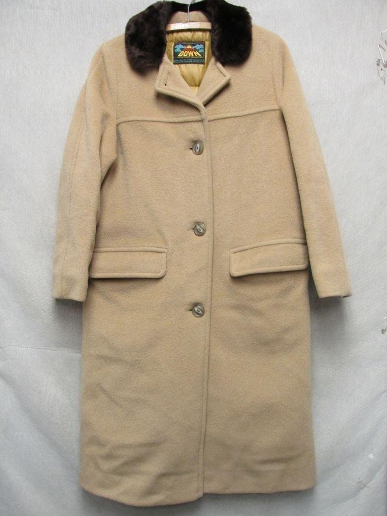 V6783 Eddie Bauer Brown Wool Button Up Down 70's Long Coat Women's M