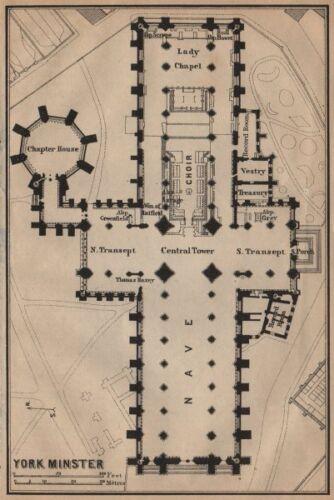 BAEDEKER 1906 old antique map chart YORK MINSTER floor plan Yorkshire