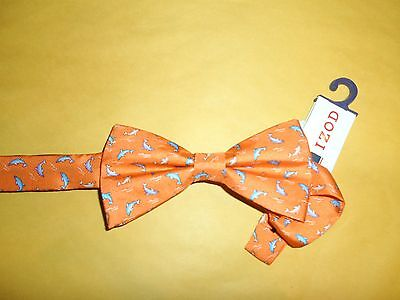 IZOD MEN'S PRE TIED BOW TIE ORANGE MULTI COLOR WITH DOLPHINS