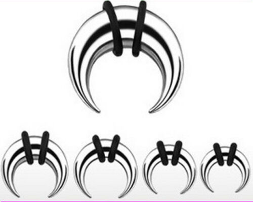 4 Pairs Steel Tapers Talons Pinchers Crescents plugs ear gauges 0g 2g 4g 6g