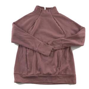 Fabletics Mock Neck Front Pockets Sweatshirt Women's Size L Pink Purple
