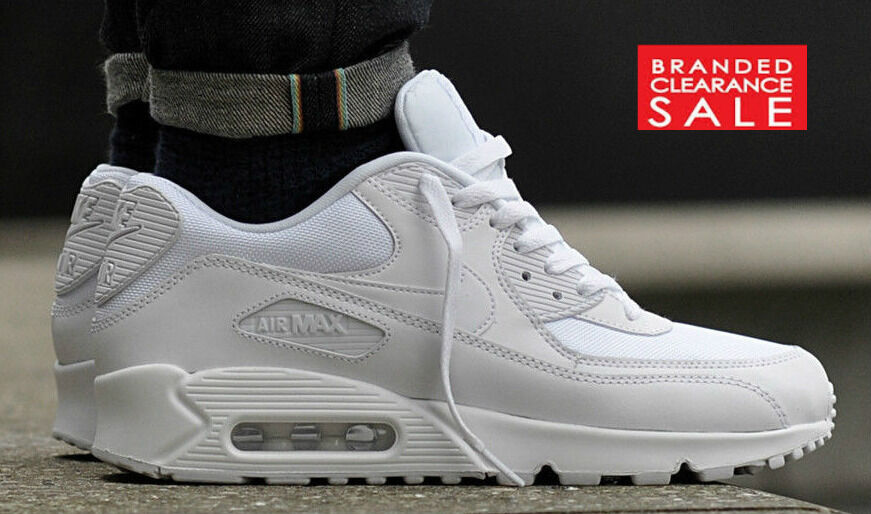 BNIB New Men Nike Air Max 90 Leather Triple White size 9 10 uk