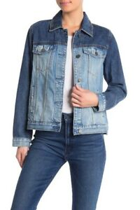 Blank-NYC-women-039-s-Blue-Two-Tone-Denim-Button-Up-Jacket-Various-Sizes-xS-S-M