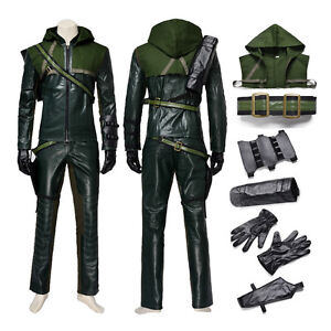 Image is loading New-Green-Arrow-Oliver-Queen-Cosplay-Costume-Halloween-  sc 1 st  eBay & New Green Arrow Oliver Queen Cosplay Costume Halloween Clothing And ...