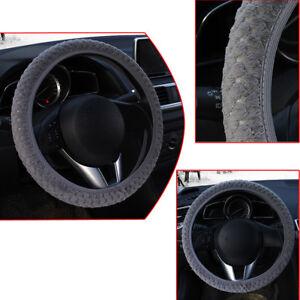 Soft-Steering-Wheel-Cover-Fuzzy-Wool-Velvet-Car-Auto-Winter-Warmer-Set-Grey-1pc