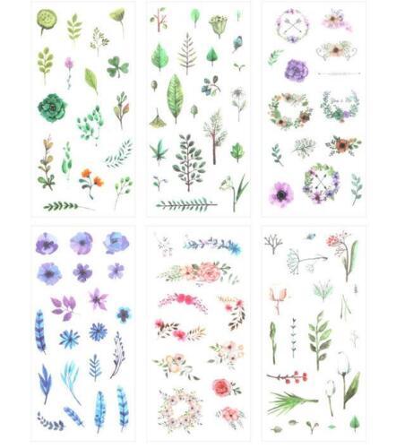 6 sheet //set Plant flower Sticker decoration Diary Scrapbooking Album Stickers