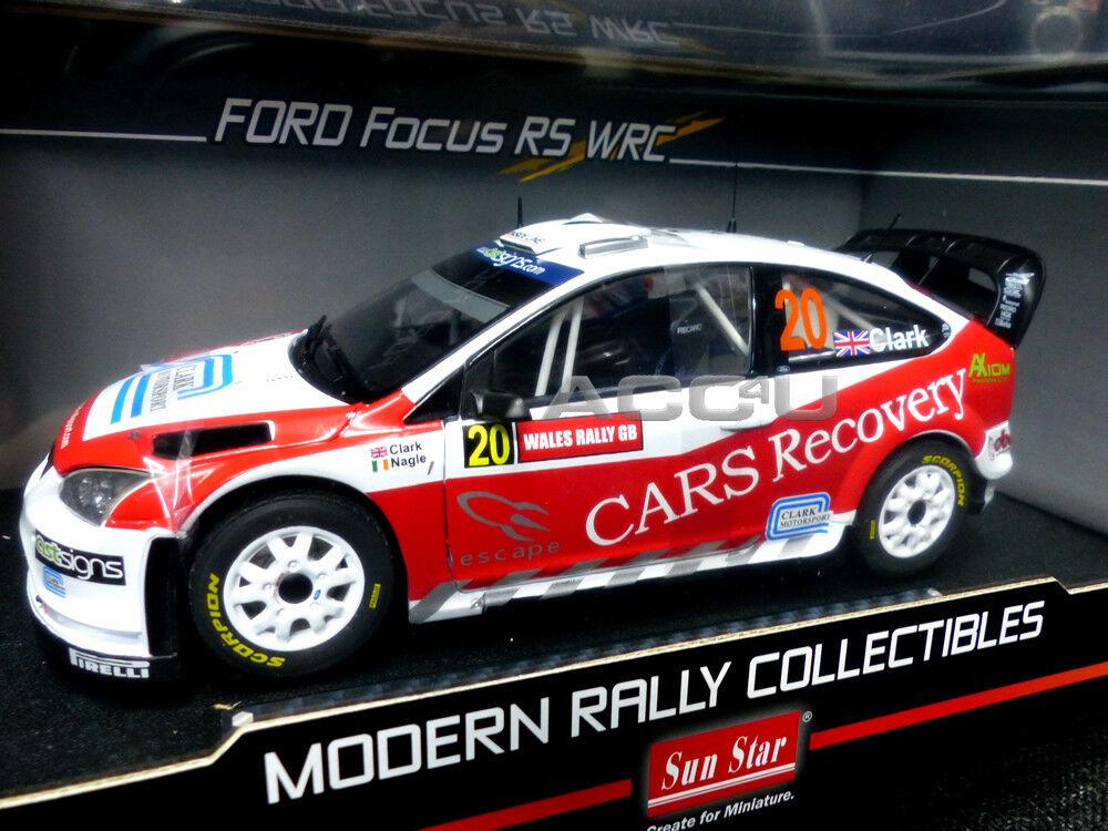 Ford Focus RS WRC07 Wales Rally Gb 2008 1 18 Diecast modèle de voiture. Clark P. Nagel
