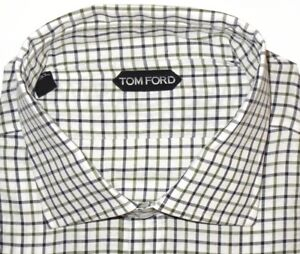 675-NEW-TOM-FORD-WHITE-GREEN-amp-BLACK-GRID-HAND-MADE-DRESS-SHIRT-EU-44-17-5