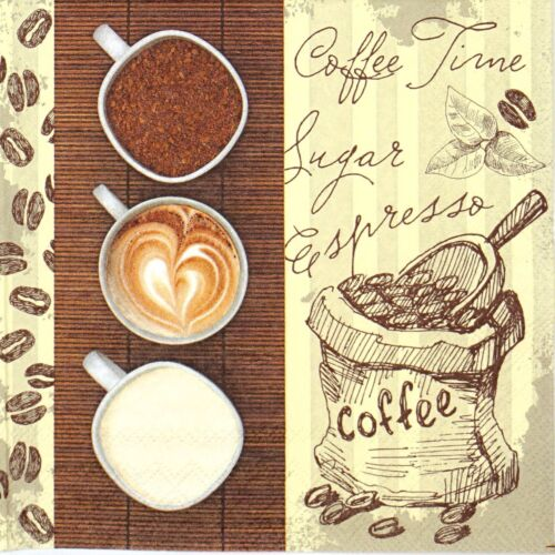 Coffee Trio 4x Paper Napkins Decoupage for Party