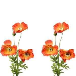 Set Of 2 Artificial Orange Poppy Silk Flower Sprays Poppies With 3