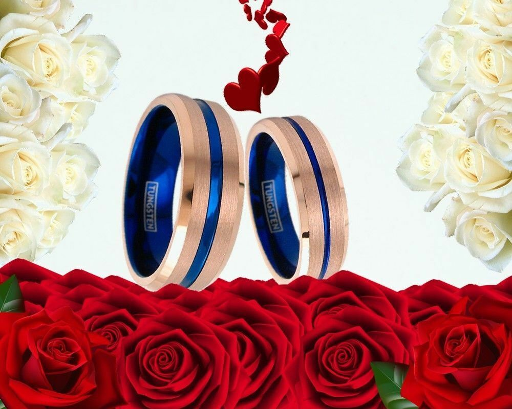 His 8mm and Her 6mm Tungsten pink gold & bluee Stripe Engagement Wedding Ring Set