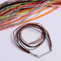 Mixed Ribbon Waxen Rope Organza Cord Fit Bead Pendant Necklace Lobster Clasp DIY